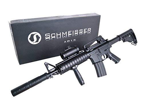 KOSxBO Set: Elektrische Softair - Gewehr Schnellfeuerkarabiner AR 15 Schmeisser mit Akku, Metalllauf - Stärke 0.5 Joule Ink. KOS24 Zielscheibe Ink. Munition