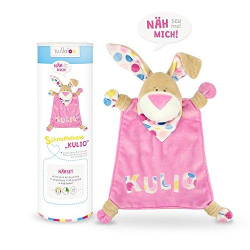 kullaloo - Material-Set/Stoffpaket zum Selber nähen: Schnuffeltuch Hase Kulio 2016 inkl. Schnittmuster in rosa/pink-beige inkl. Schnitt u. Stoff-Label zum Einnähen in schicker Dose