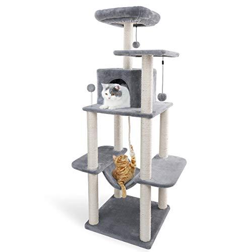 Eono Essentials Katzenbaum mit Sisal Katzenkratzbaum Katzenturm mit Hängematte Höhle Kratzbäume Kletterbaum Katzenmöbel Katzenspielzeug