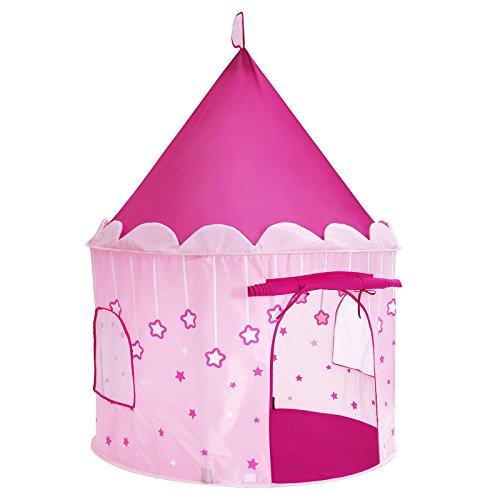 SONGMICS Spielzelt, Prinzessinnenschloss für Mädchen Kleinkinder, Spielhaus für innen und außen, tragbares Pop-UP Indianerzelt Tipi mit Tragetasche, Geschenk für Kinder, EN71 zertifiziert, pink, LPT01PK
