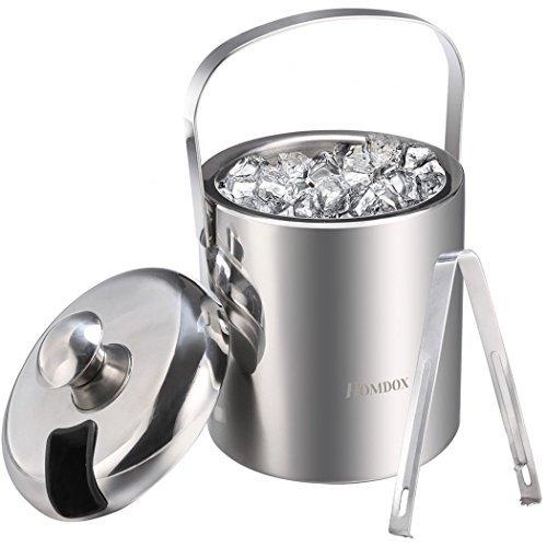 Sailnovo Eiseimer mit Zange und Deckel Eisbehälter sektkühler Edelstahl Eiseimer Eisbehälter mit Zange und Deckel ,Eiseimer mit Doppelwand-Isolierung für besonders lange Kühlung ,Weinkühle Sektkühler Edelstahl Doppelwandiger 1.2 Liter