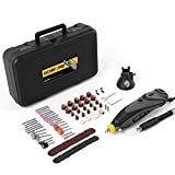 DETLEV PRO Multifunktionswerkzeug Rotary Tool mit 100 Zubehör 6 Stufenlose Drehzahl geeignet für DIY Schleifen Schneiden Gravur, RTM4132-10E (Verpackung MEHRWEG)