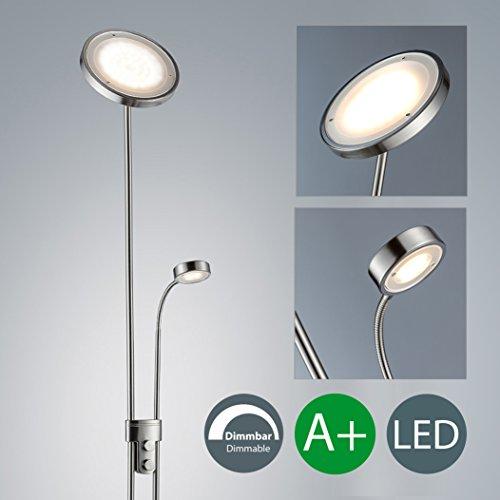 LED Stehlampe inkl LED Platine 230V IP20 21W LED Stehleuchte modern Deckenfluter mit Leselampe LED Standleuchte mit Drehschalter warmweiss Metall-Glas matt nickel 2000lm 21 Watt schwenkbar Wohnzimmer