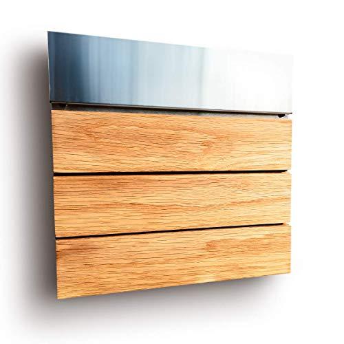 Moderner Design Briefkasten aus Edelstahl und Holz
