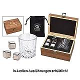 Whisky Kühlsteine aus Edelstahl in 4 edlen Varianten - Whisky Steine mit Whisky Gläsern und Geschenkbox