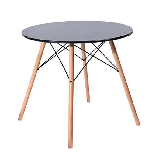 H.J WeDoo Rund Couchtisch Glastisch Tischplatte Buchenholz Esstisch Küchentisch Wohnzimmertisch, 80 * 80 * 75 cm, 4 Beine Natur, Transparent