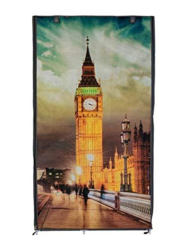 Pureday Kleiderschrank London - Stoffschrank - Grau - Big Ben Motiv - ca. H160 x B86 x T45