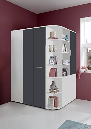 Begehbarer Eckkleiderschrank in weiß, graue Falttür | Schlafzimmerschrank | Jugendzimmerschrank | Eckschrank