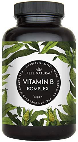 Vitamin B Komplex Kapseln. 180 vegane Kapseln im 6 Monatsvorrat. Hochdosiert, mit bio-aktiven Vitamin B-Formen. Ohne Zusätze. Hergestellt in Deutschland