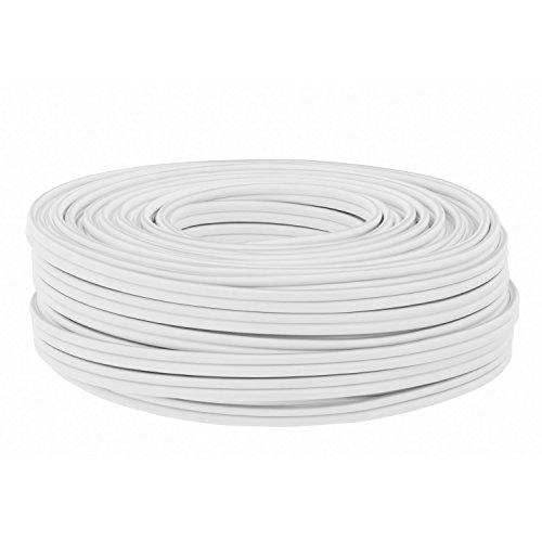 DCSk 25m Kupferkabel (2x2,5mm²)  Hochreines Vollkupfer  Isoliertes Lautsprecherkabel (LS), HiFi-Kabel | Hochwertiges High End Boxenkabel als Meterware | weiß