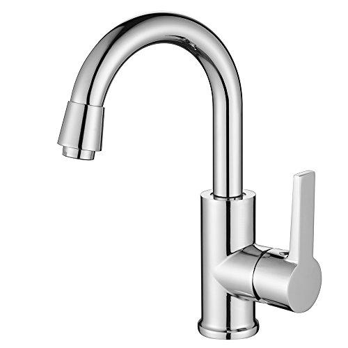 Homelody Chrom Drehbar 360° Mischbatterie Waschbeckenarmatur Wasserhahn Küche Armatur Bad Einhebelmischer Küchenarmatur