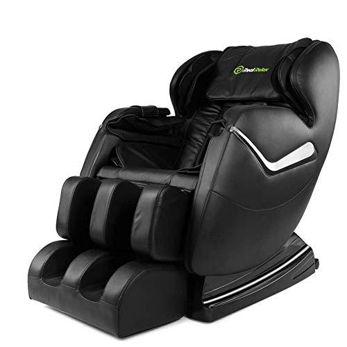 Real Relax Massagesessel Zero Gravity für Ganzkörper, mit Heizung und Fußrollen, Schwarz