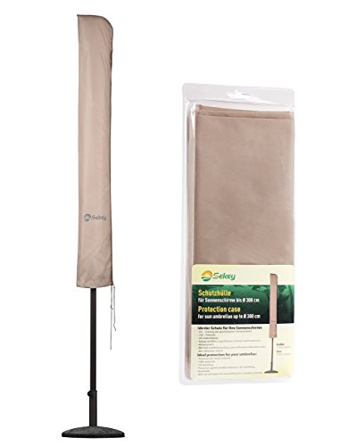 Sekey Schutzhülle für Ø 300 cm Sonnenschirm, Abdeckhauben für sonnenschirm,100% Polyester, Taupe