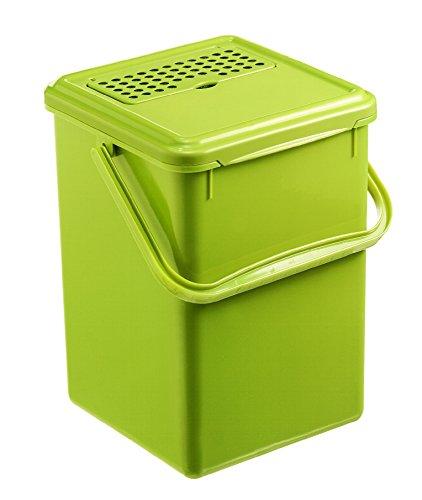 Rotho 1779905519 Komposteimer Bio mit Aktivkohlefilter, Plastik, hellgrün, 8 L, 23 x 22.5 x 27.5 cm