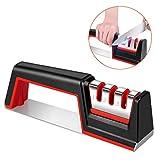 Karrong Messerschärfer, Profi Messerschleifer Manuelle Knife Sharpener mit 3 Stufen Küchenmesserschärfer Messerschärfer für Edelstahl und Keramikmesser Aller Größen, Rutschfeste Unterseite, Rot