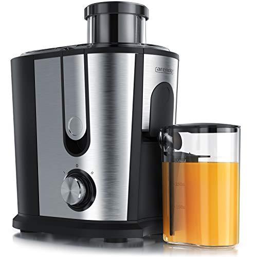 Arendo - Entsafter für Obst und Gemüse in Edelstahl | Zentrifugaler Entsafter Juicer | elektrisch | 2 Geschwindigkeitsstufen | Überhitzungsschutz | Edelstahlgehäuse | BPA-frei