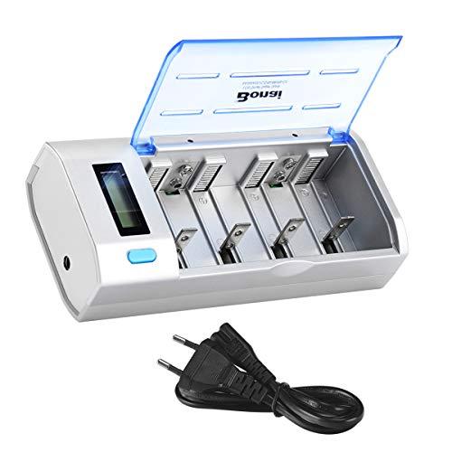 BONAI LCD Universal Akku Ladegerät für AA/AAA/SC/C/D/9V NI-Mh/NI-CD Batterie mit Wiederaufladbare Batterieentladungsfunktion