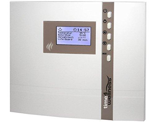 EOS Saunasteuerung ECON D2, externe Steuerung für die Sauna mit 24 h Vorwahluhr inkl. Temperaturfühler und Überhitzungsschutz für die rein finnische Sauna - Original EOS