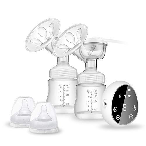 Elektrische Milchpumpe, Wiederaufladbare Digital LCD Display Tragbar Doppel Stillen Pumpe mit 3-Phasen-Expressions Technologie Stillpumpe Brust Massage Brustpumpe