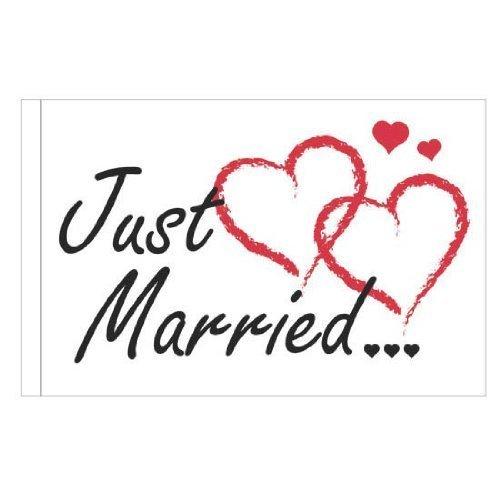 AUTOFAHNE 'Just married' (schwarze Schrift rote Herzen)