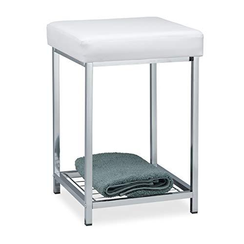 Relaxdays Hocker gepolstert, Kleiner Sitzhocker, Quadratisch, Polsterhocker mit Ablage, Badhocker, HBT 47x33x33cm, weiß