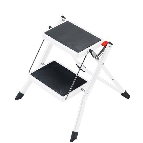 Hailo Mini, Stahl-Klapptritt, 2 Stufen, Klappsicherung mit Entriegelungstaste, einfach zu verstauen, Tragegriff, belastbar bis 150 kg, 4310-001