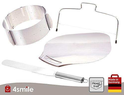 Mega Set Backen - Tortenring Tortenbodenteiler Kuchenheber Streichpalette | Backset aus rostfreiem Edelstahl - Made in Germany