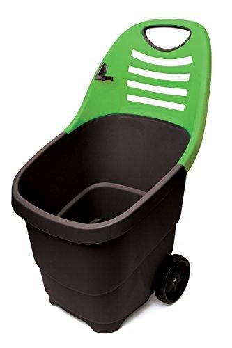Garten Trolley, Gartenkarre aus robustem Kunststoff mit leichtgängigem Rollenpaar auf Metallachse. In Schwarz/ Grün. Mit 65 Liter Volumen! Super praktisch!