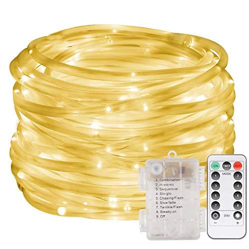 LED Lichterschlauch 10m 100 LED Lichter mit 8 Modi Innen und Außenbereich Lauflichter für Saal, Garten, Weihnachten, Hochzeit, Party - Warmweiß Lichtschläuche (Warmweiß)