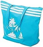 Strandtasche Damen Schultertasche Shopper Sommer TascheVerschluss Reißverschluss Größe 50 x 40 x 16 cm Palme-Muster Airee Fairee (Blau)