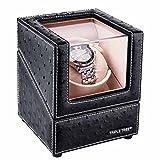 Uhrenbeweger für eine Uhr, Winder passend für die meisten Automatikuhren, mit flexiblen Plüsch Kissen, in Holz Box mit schwarzem Leder, japanischer Motor, 4 verschiedene Rotations-Modi