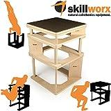 skillworx Plyollettes Set - Raw Edition: 3-in-1 Plyo Box bis 90cm, High Parallettes und Dip Station aus Holz