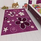 Kinder Teppich Modern Blumen Sterne Farbe Lila – VIMODA; Maße: 80x150 cm