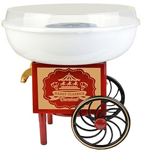 Gadgy  Zuckerwattemaschine Wagen für Zuhause | Cotton Candy Machine | für Zucker oder Harte Süßigkeiten | Zuckerwattegerät für Kindergeburtstag | Rot Weiß