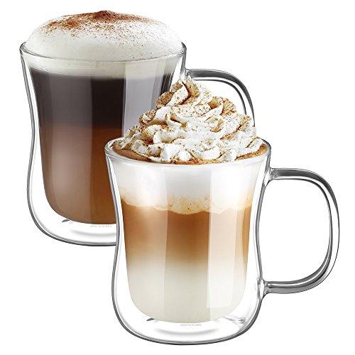 Ecooe 2-teiliges 350ml (Volle Kapazität) Doppelwandige Latte Macchiato Glaser Set Thermoglas Kaffeeglas mit Henkel