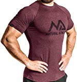 Herren Fitness T-Shirt meliert - Männer Kurzarm Shirt für Gym & Training - Passform Slim-Fit, lang mit Rundhals