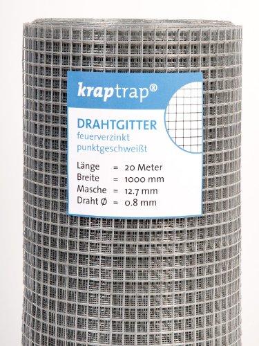 KrapTrap Volierendraht, Drahtgitter, 12.7 mm Masche, 100 cm Breite, 20 m Länge Grundpreis 1,99 EUR/m