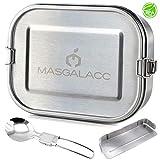 Masgalacc Brotdose Edelstahl mit herausnehmbarer Fächern und zusammenklappbarer Löffel- BPA Frei - Auslaufsicher Bento Box Lunchbox für Kinder und Erwachsene,Brotbüchse,Vesperdose(1200 ML)