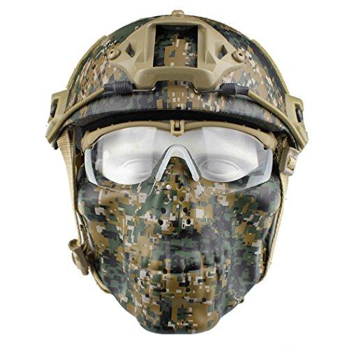 Paintball Masken,Fansport Airsoft Maske Helm Mit Maske Paintball Helm CS Maske MilitäR Helm Maske Und Schutzbrille Helm Mit Brille Abs Helm