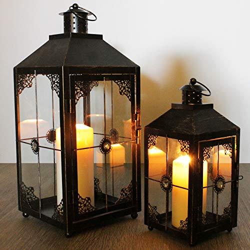 Multistore 2002 2tlg. Laternen-Set H31/46cm, Schwarz/Gold, Laterne Gartenlaterne Kerzenhalter Gartenbeleuchtung Windlicht