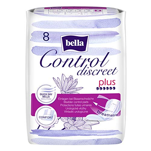 bella Control Discreet Hygieneeinlagen Plus für leichte Blasenschwäche, 8er (8 x 8 Stück), saugfähig und atmungsaktiv