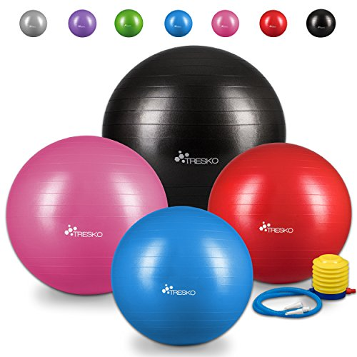 TRESKO Anti-Burst Gymnastikball 55cm 65cm 75cm 85cm | Sitzball | Yogaball | 300 kg | mit Luftpumpe (Grün, 75cm (geeignet für 175-185cm))