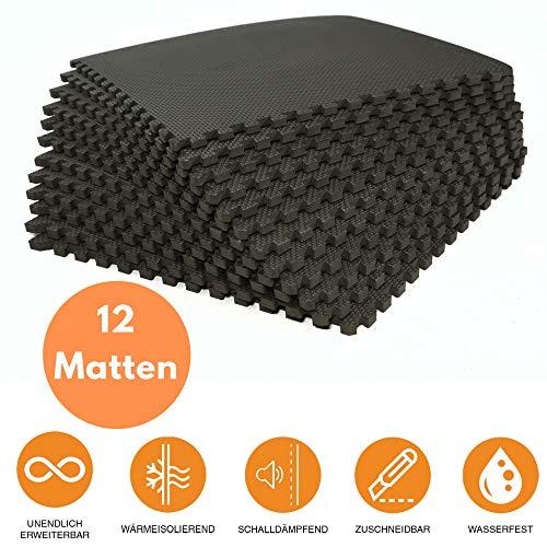 bonsport Bodenschutzmatten 12er-Set - Puzzlematte 40x40cm Sportmatte Schutzmatte