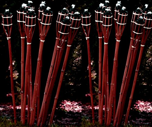 24 Stück rotbraune Gartenfackel 120 cm aus Bambus / Bambusfackel inkl. Docht + Tank / Öl-Fackel / Qualität von STAR-LINE