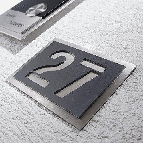 Metzler-Trade Hausnummer aus hochwertigem V2A-Edelstahl und Acrylglas - in Anthrazit! Grau RAL 7016 - Rostfrei und witterungsbeständig - alle Nummern und Buchstaben möglich, auch Sonderzeichen! - aus robustem Edelstahl - witterungsbständig und langlebig - 150 x 215 mm (Anthrazit)
