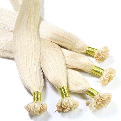 hair2heart 50 x Bonding Extensions aus Echthaar, 30cm, 0,5g Strähnen, glatt - Haarverlängerung - #60 lichtblond