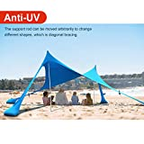Lovebay Sonnenschutz Strandzelt mit Sandsäcke Anker mit 100% Lycra Perfekt Sichtschutz Strandmuscheln für 2-4 Personen 210CM X 210CM