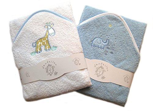 Ein Set mit zwei luxuriöses Baby Kapuzen Badetuch, 100% Baumwolle, In Pink oder Blau mit niedlichen Tier Applikationen