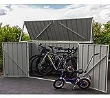 ABSCO Fahrradbox, Metallgerätebox, Fahrradgarage, Mülltonnenbox Grau // 225x78x115 cm // Aufbewahrungsbox
