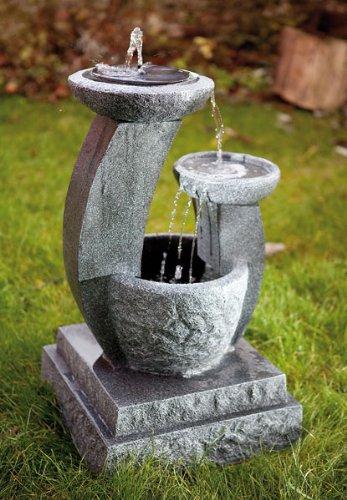Solarbrunnen Solar Gartenbrunnen Caskaden Brunnen Style mit LED